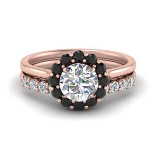 Floating Black Diamond Ring Set