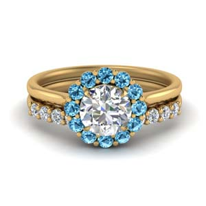 Blue Topaz Ring And Diamond Band