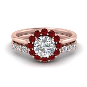 Halo Ruby Ring And Diamond Band