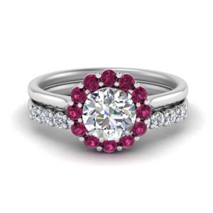 Flower Man Made Diamond Ring Set