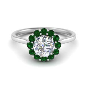 Platinum Emerald Halo Ring
