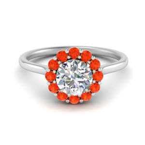 Orange Topaz Flower Ring