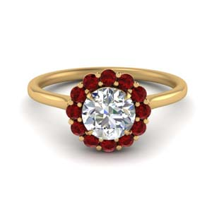 Halo Cathedral Style Ruby Ring