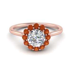 Floral Orange Sapphire Ring