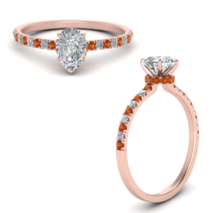 U Prong Orange Sapphire Halo Ring
