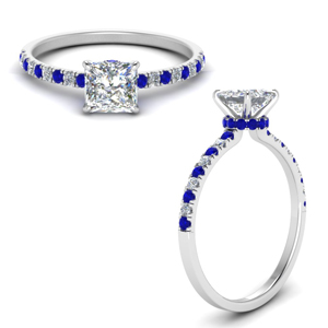 Princess Cut Halo Blue Sapphire Rings
