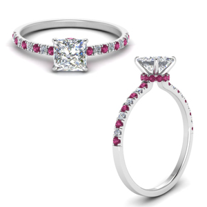 Hidden Halo Pink Sapphire Petite Ring