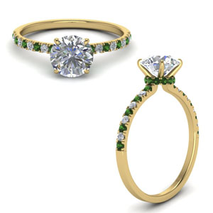 Yellow Gold Emerald Delicate Ring