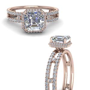 Under Halo Asscher Diamond Ring