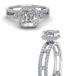 Asscher Cut Split Band Hidden Halo Ring