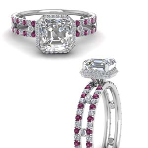 Under Halo Ring With Pink Sapphire