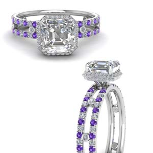 Platinum Purple Topaz Bezel Set Ring