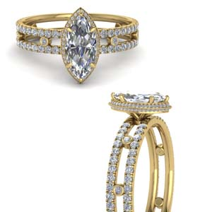 Marquise Cut Split Band Hidden Halo Ring