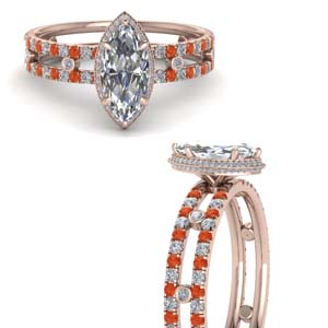 Hidden Halo Orange Topaz Ring