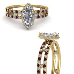 Under Halo Wedding Ring With Ruby