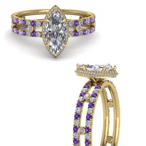 Split Shoulder Purple Topaz Ring