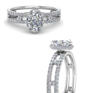 Hidden Halo Oval Diamond Ring