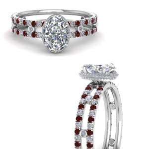 Platinum Split Band Ruby Ring