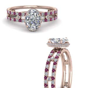 Pink Sapphire Split Band Ring