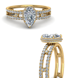 Pear Diamond Split Hidden Halo Ring