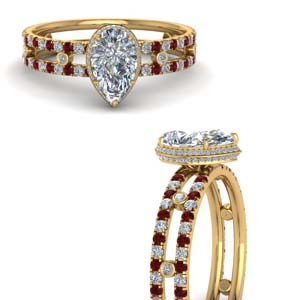 Under Halo Bezel Set Ruby Ring