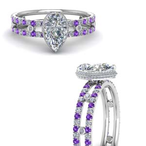 Purple Topaz Split Shoulder Ring