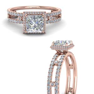 Split Band Hidden Halo Diamond Ring