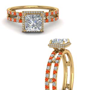 Orange Topaz Split Band Ring