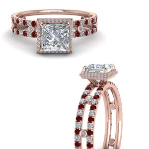 Split Shank Diamond Ring With Ruby
