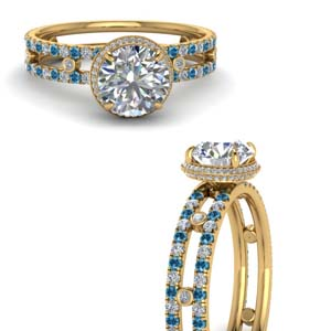 Double Band Bezel Set Topaz Ring