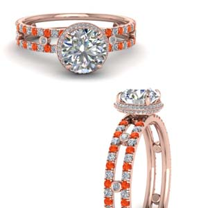 Bezel Set Orange Topaz Ring
