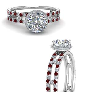 Platinum Split Shank Ruby Ring