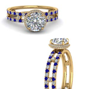 Split Shank Diamond Ring With Sapphire