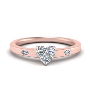 18K Rose Gold Marquise Accent Ring