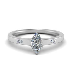 Flat 3 Stone Engagement Ring