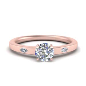 3 Stone Round Cut Ring For Women