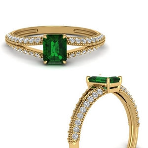 Split Shank Vintage Emerald Ring