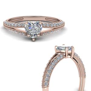 Milgrain Split Engagement Ring