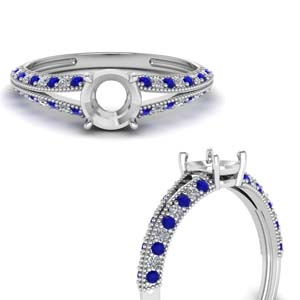 Pave Set Sapphire Ring Setting