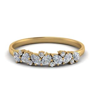 Pear & Round Diamond Wedding Band