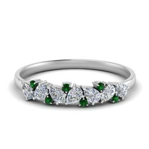 Pear Wedding Band With Emerald