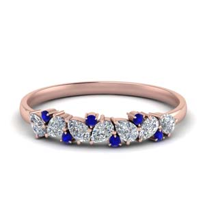 Pear With Sapphire Wedding Band