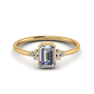 Bezel Set Emerald Cut Diamond Ring