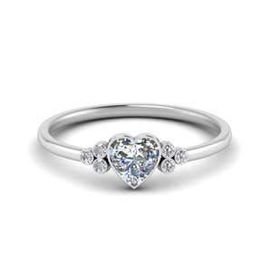 Bezel Set Heart Diamond Ring