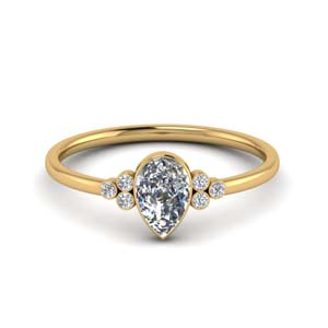 1 Ct. Teardrop Bezel Set Wedding Ring