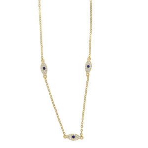 3 Evil Eye Diamond Necklace