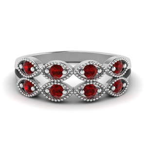 Twisted Ruby Milgrain Band