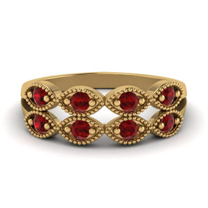 Art Deco Ruby Women Band