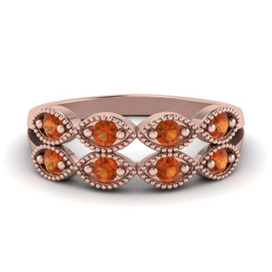 Orange Sapphire Infinity Wedding Band