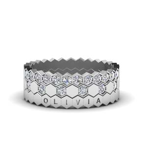 Multi Stack Hexagon Diamond Band